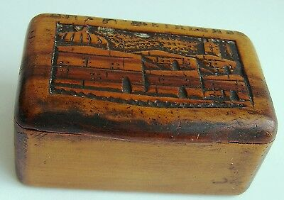 Antique small hand carved olive wood Box.