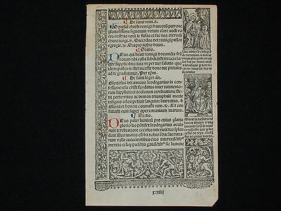 Attractive Printed Medieval Book of Hours Leaf, Woodcut Borders, c.1510!
