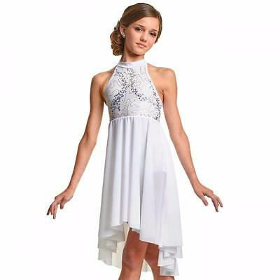 Dance Costume Large Child White Sequin Lyrical Ballet Solo Competition Pageant