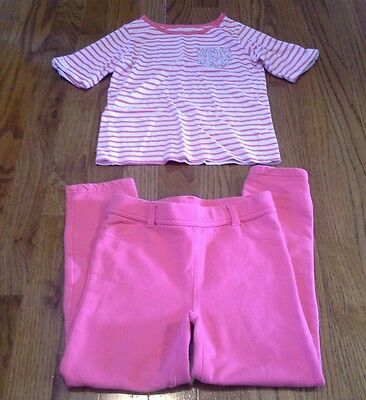 Girls pink and white 2 pc outfit shirt jegging pants set size 6 Carters