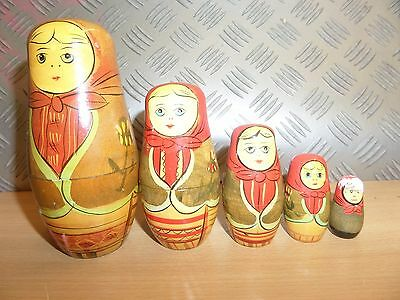 Matryoshka Russian Nesting Dolls 5 PIECES SMALL DAMAGED LARGE DISCOLOUR - LOT 3Y