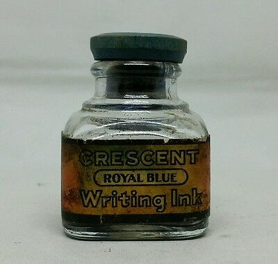 Antique Ink Bottle Crescent Royal Blue Writing Fluid Terre Haute Indiana