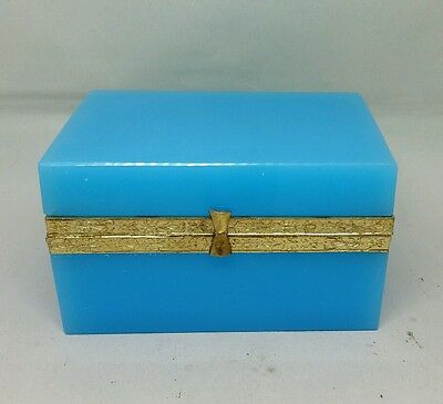 Antique French Opaline Box Jewelry Casket Gold Gilt Mounts MINT RARE