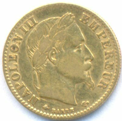 1868-A Gold 10 Francs France, Scarce, Laureate Head