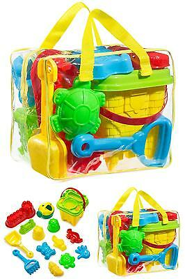 GoToys Beach sand toy set, Models and Molds, Bucket, Shovels, Rakes, Mesh bag wi