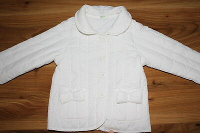 BENETTON girls white pretty coat 6-9 months *I'll combine postage