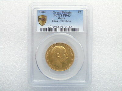 1902 £2 Two Pound Gold Matt Proof Double Sovereign Coin PCGS PR63
