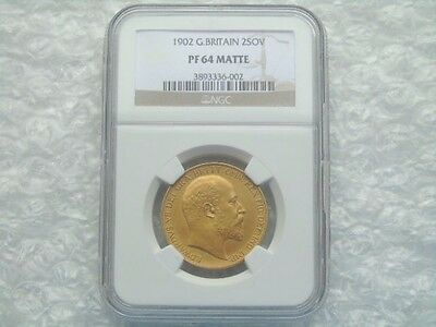 1902 Edward £2 Two Pound Gold Matt Proof Double Sovereign Coin NGC PF64
