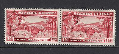 SIERRA LEONE : 1938 GVI 1 1/2d scarlet pair  SG 190  - lightly mounted mint