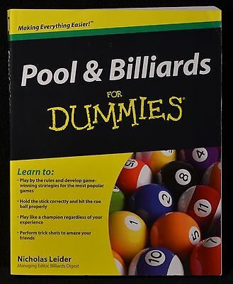 Pool & Billiards for Dummies by Nicholas Leider Very Good Condition