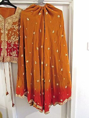 Asian/Indian/Pakistani Designer Lengna Red and Orange with embroidery