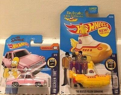 Hot Wheels HW Screen Time Simpsons Family Car and The Beatles Yellow Submarine