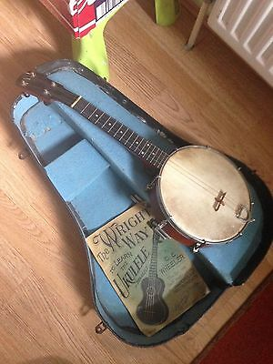 Old Ukelele Banjo, 4 String In Case With Tuning Pitch Pipes