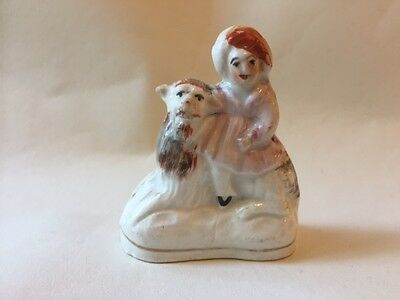 sweet little staffordshire girl on a goat, Victorian
