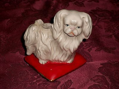1960s Lefton Japan Porcelain Figurine White Pekingese Dog on Pillow #2540 Label
