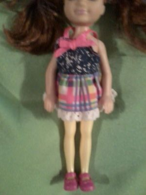 Barbie baby KELLY Chelsea Summer Blue Jean Pink Plaid Skirt DRESS SHOES clothes