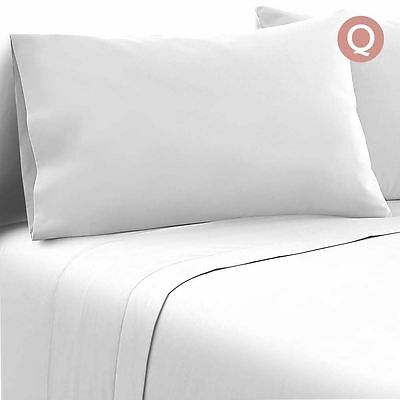 4 Piece Soft Microfibre Bed Sheet Set Fitted Flat Pillow Case Queen White Quilt