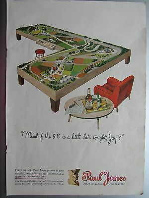 Vintage 1946 Paul Jones Whiskey Liquor Train Layout Full Page Color Magazine Ad