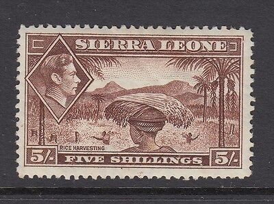 Sierra Leone-1938 Defs. 5/-Red-Brown,SG198 - lightly mounted mint