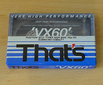 That's VX 60 Blank CHROME Cassette Tape Vintage TYPE II 2 Brand New Sealed