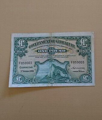Gibraltar £1 Pound banknote 1958 Very rare in VG condition.