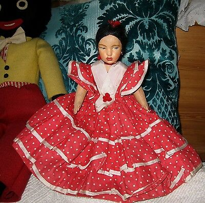 Vintage Lenci style Topsy Turvy doll Spanish dancer and African Lady