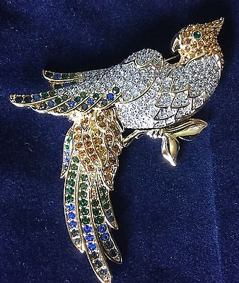 Authentic Swan Signed Swarovski Parrot Multi Color Pin Brooch New
