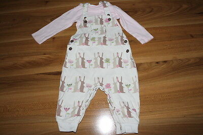 NEXT girls RABBIT dungarees vest outfit 6-9 months *I'll combine postage