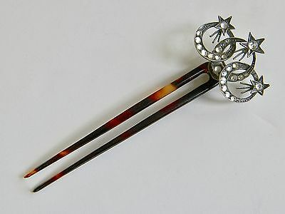 Antique Victorian Shooting Stars Hinged Silver Hair Pin Hair Comb Clear Pastes