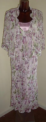 Minuet Lilac pink & green floral dress sind jacket Mother of Bride suit size 12