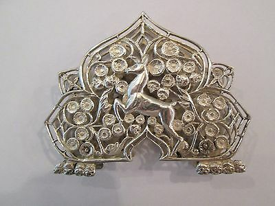 Exquisite Antique 800 Silver Calling Card / Letter / Napkin Holder