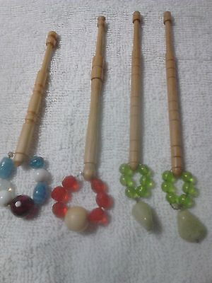 4 Lace Making Wooden Bobbins With Spangles.