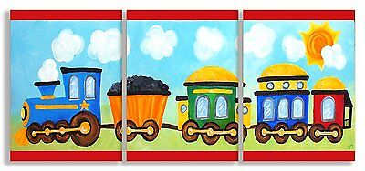 The Kids Room by Stupell Choo Choo Train in the Sun 3-Pc. Rectangle Wall Plaque