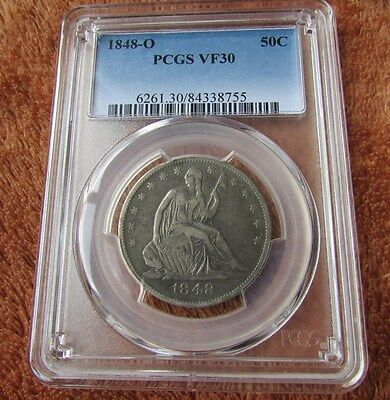 1848-O 50c PCGS VF30 Seated Liberty Half Dollar ~ Tough New Orleans Mint ~