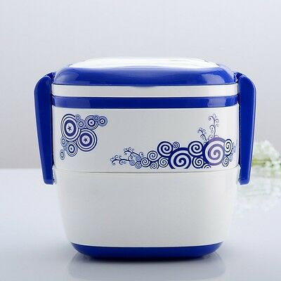 New Lunch Box Double Tier Plastic Bento Food Container Microwave Picnic Utensil