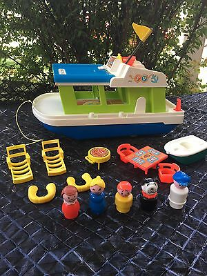 Vintage Fisher Price Play Family (Little People) Houseboat - Complete, #985