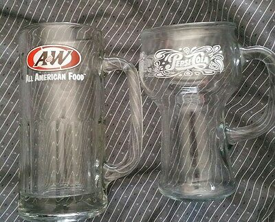 """Vintage A&W 7"""" Root Beer Float Mug & Pepsi-Cola Parlor Fountain Drinks Glass"""