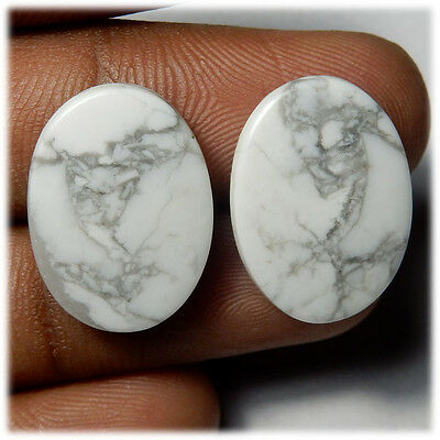 23.20 Cts NATURAL A+ QUALITY HOWLITE MATCHED PAIR OVAL SHAPE CAB GEMSTONE HL-07