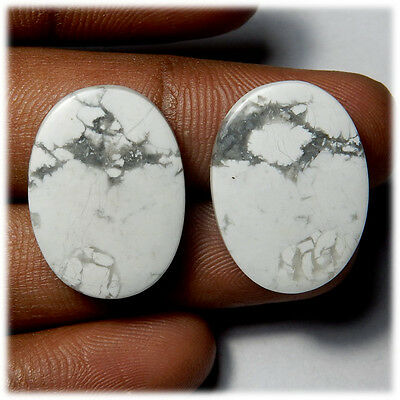 32.80 Cts NATURAL A1 QUALITY HOWLITE MATCHED PAIR OVAL SHAPE CAB GEMSTONE HL-02