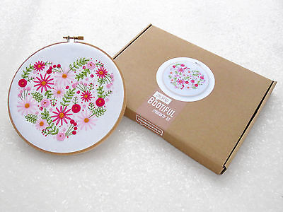 Embroidery Kit, Pink Floral Heart Embroidery Kit, Flowers Hand Embroidery