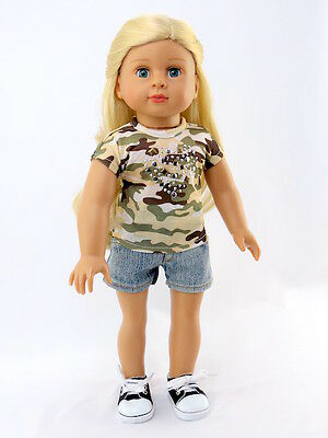 Camo Military T Shirt & Denim Shorts For 18 Inch American Girl Doll Clothes