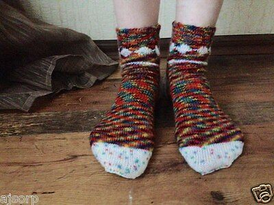 New Rainbow Melange Hand Knitted Handmade Knitting Socks  Warm Wool Size US 9-11