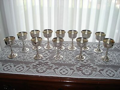 Set Of 12 Silver Plate Wine Goblets