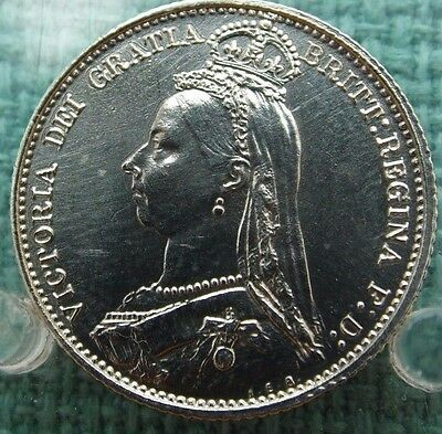 1887 Vintage Sterling Silver Victorian Sixpence