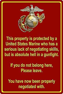 """Property Protected by Marine USMC Marine Corps 8"""" x 12"""" Aluminum Metal Sign"""