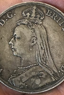 British Silver Crown Queen Victoria 1889 Nice Coin