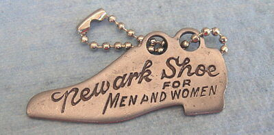 Antique Figural Shoe-Shaped Advertising Key Fob Tag: NEWARK SHOE FOR MEN & WOMEN