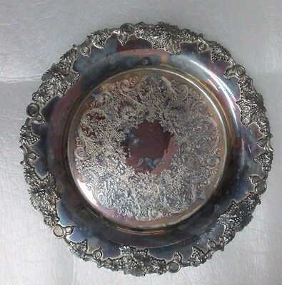 Vintage Grapes Pattern Silverplate Plate Tray Underplate Sheffield Reproduction!