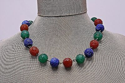 Antique Vtg Carved Peking Art Glass Beads Multi Colored Chinese Necklace Choker