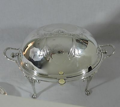 Vintage English Beresford Silver Plated Fancy Repousse Revolving Warming Tureen